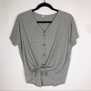 Tie Front Button Down Ribbed Short Sleeve Top